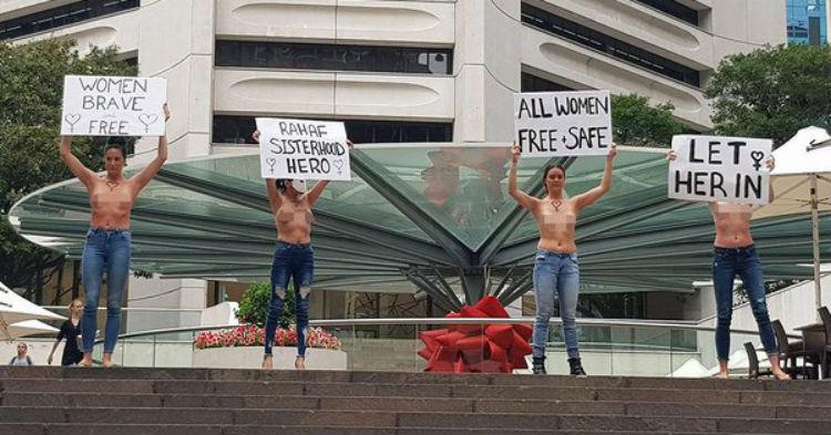 Australia: Mujeres en toples expresan su apoyo a joven saudita