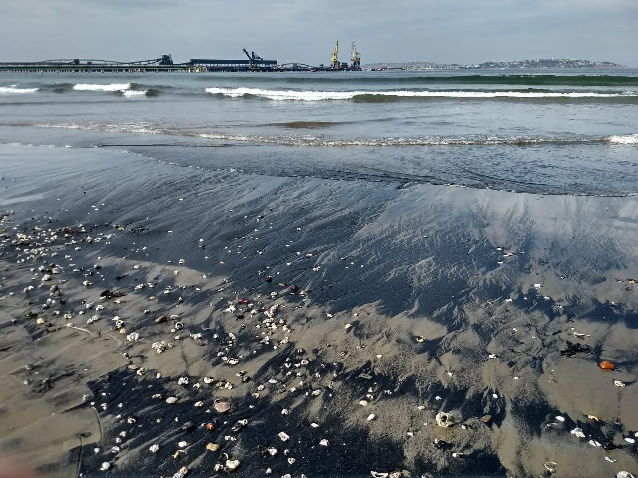 """Vecinos registran nuevo varamiento de carbón en playa Ventanas: """"El Gobierno ha sido bastante negligente"""""""
