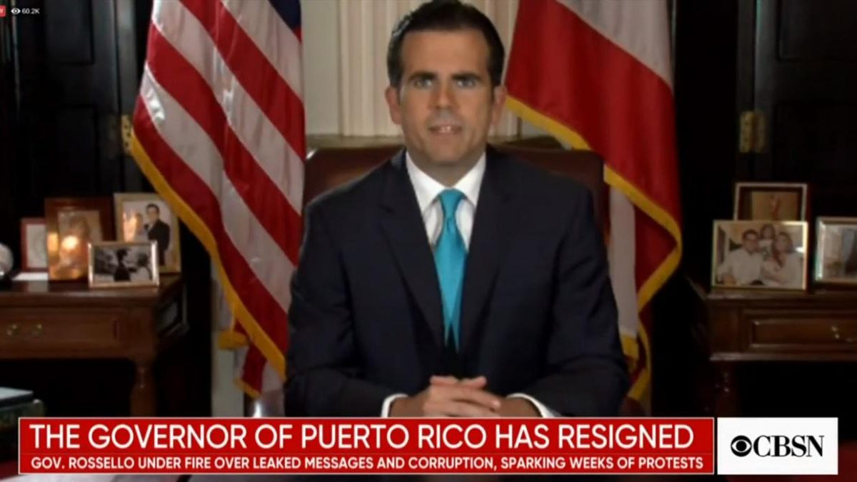 Gobernador de Puerto Rico dimite tras 10 días de protestas