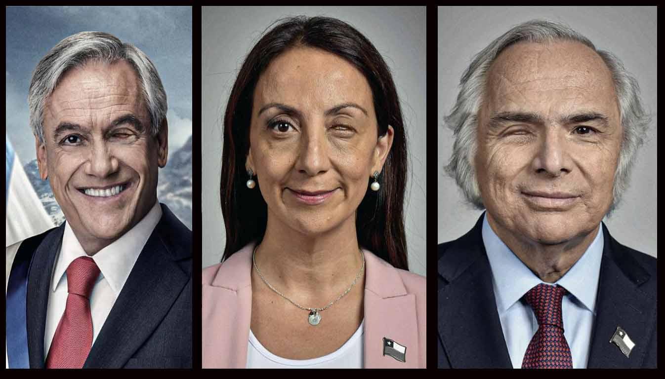 Artistas crean imágenes de Piñera y sus ministros con pérdida de uno de sus ojos