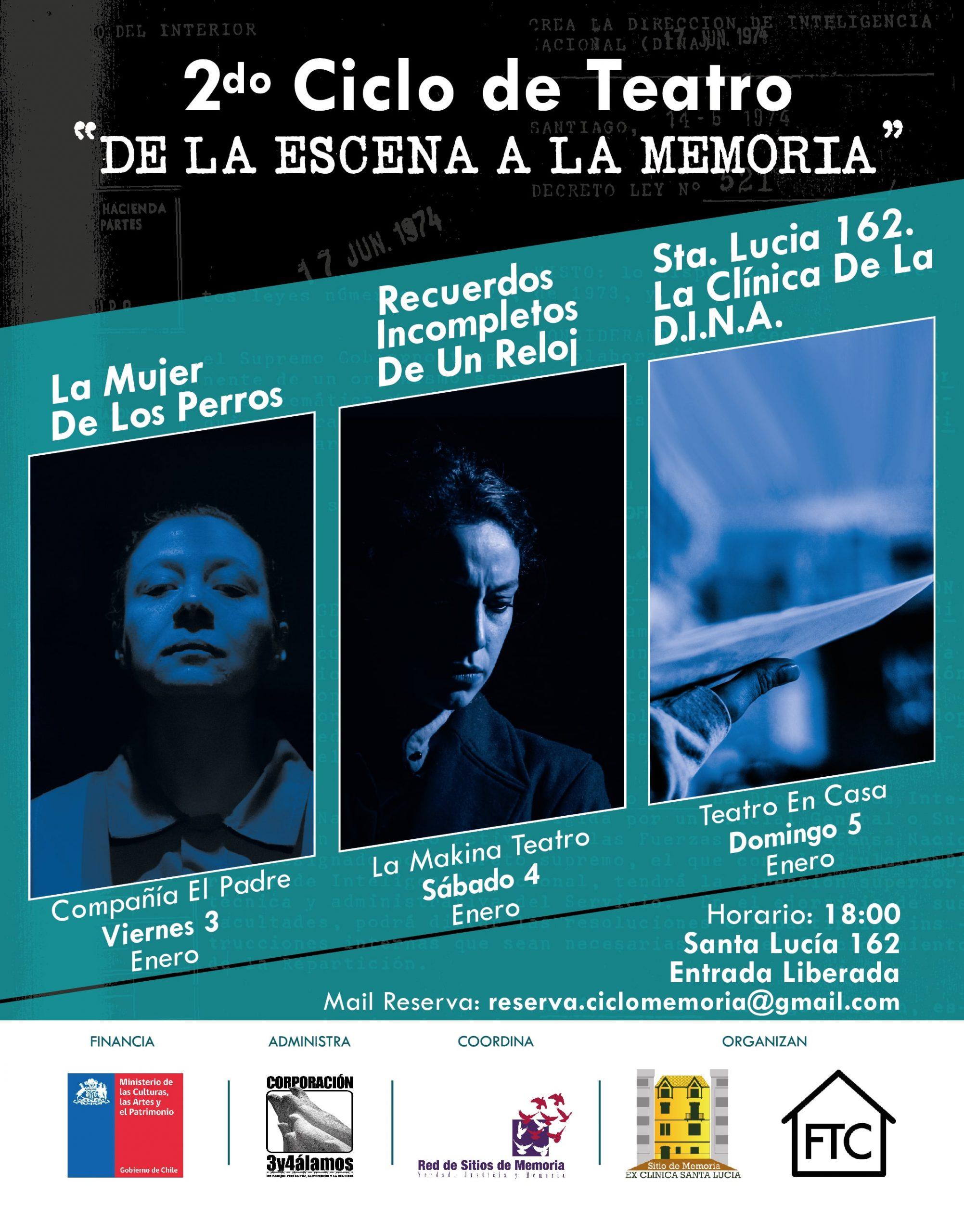 """Sitio de Memoria Ex Clínica Santa Lucía realiza 2º Ciclo Teatral  """"De la Escena a la Memoria"""""""