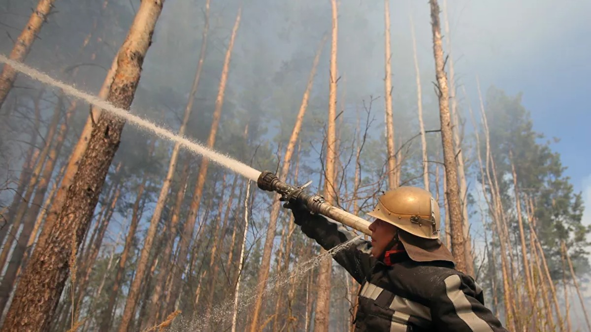 Controlado incendio forestal en Chernóbil