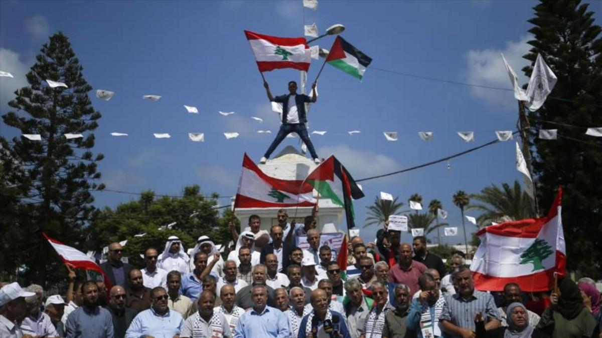 (Fotos) Palestinos se solidarizan con El Líbano tras explosión en Beirut