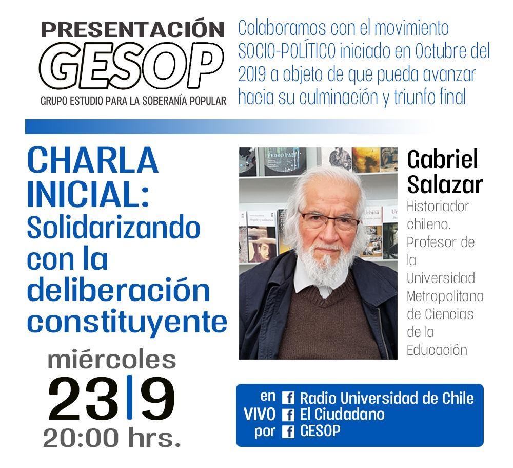 Grupo de Estudios para la Soberanía Popular invita a charla «Solidarizando con la deliberación constituyente»