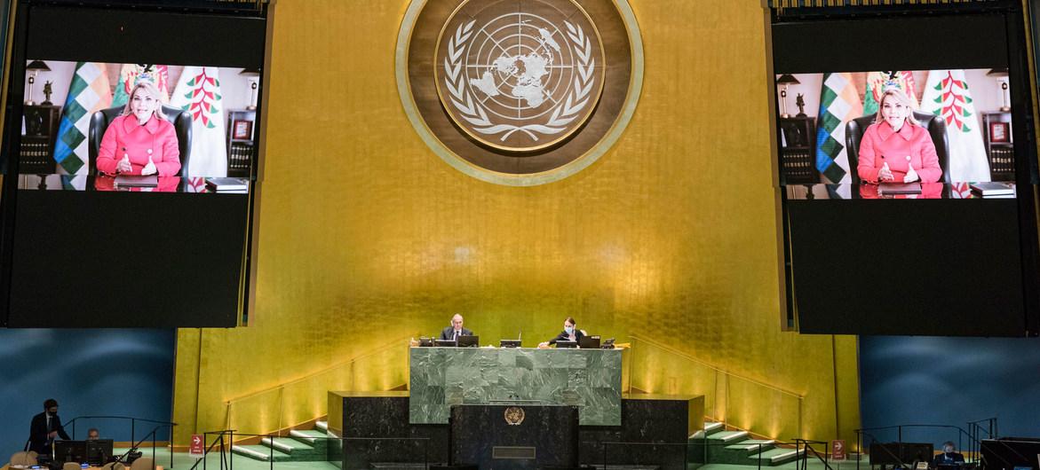 Presidenta de facto de Bolivia aseveró en la ONU que América Latina no ha superado la amenaza autoritaria
