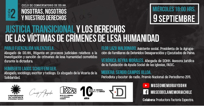 Ciclo de Conversatorios de DD.HH. abordará la Justicia Transicional y los derechos de las víctimas de crímenes de lesa humanidad