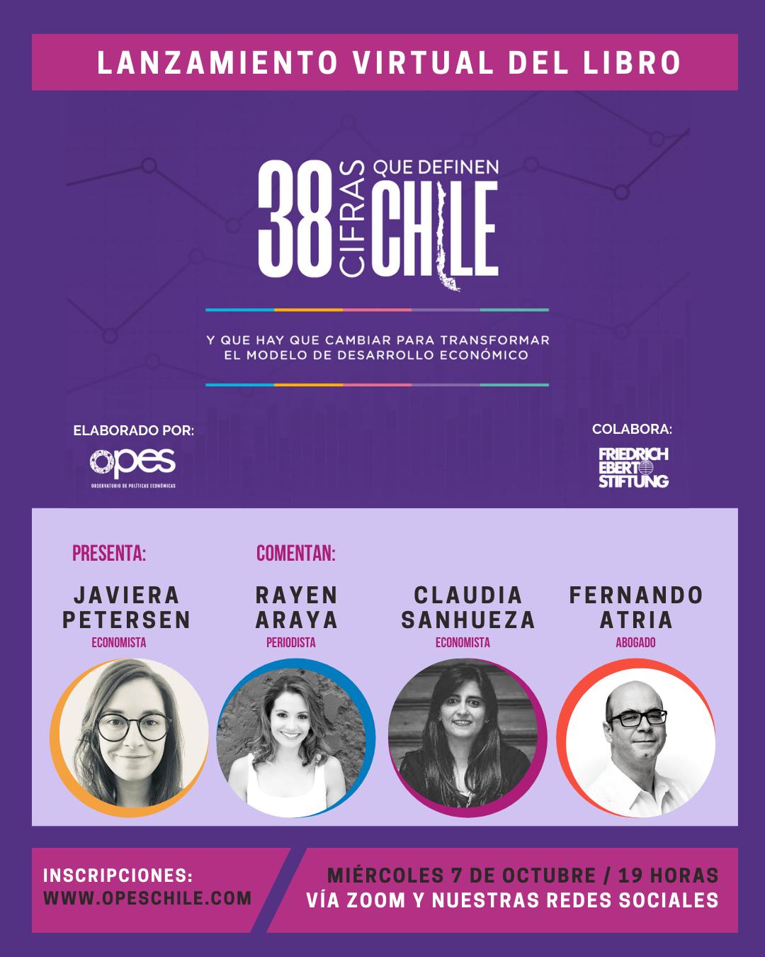 """Presentación del libro """"38 cifras que definen Chile"""", del Observatorio de Políticas Económicas, OPES."""