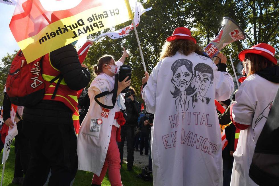 Protesta en Francia: exigen mejores condiciones sanitarias a las puertas de los hospitales
