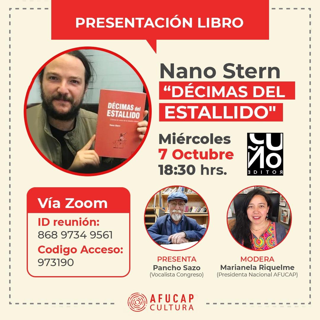 Afucap junto a Pancho Sazo invitan a presentación del libro «Décimas del Estallido» de Nano Stern