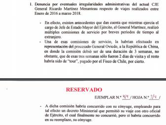 Nueva denuncia del capitán Harvey: General Martínez Menanteau realizó tour a China con su esposa con dinero del fisco