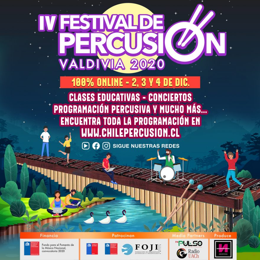Cuarta versión del Festival de Percusión Chile se emitirá desde Valdivia