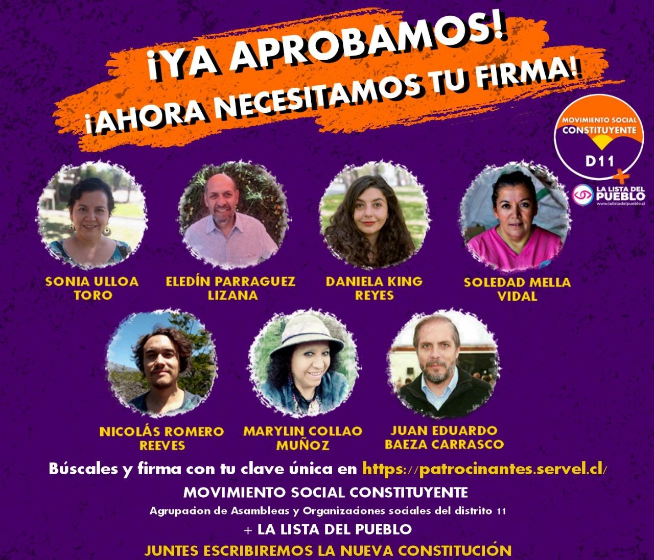 El Movimiento Social Constituyente D11 en alianza con la Lista del Pueblo levantan lista de unidad en el Distrito 11