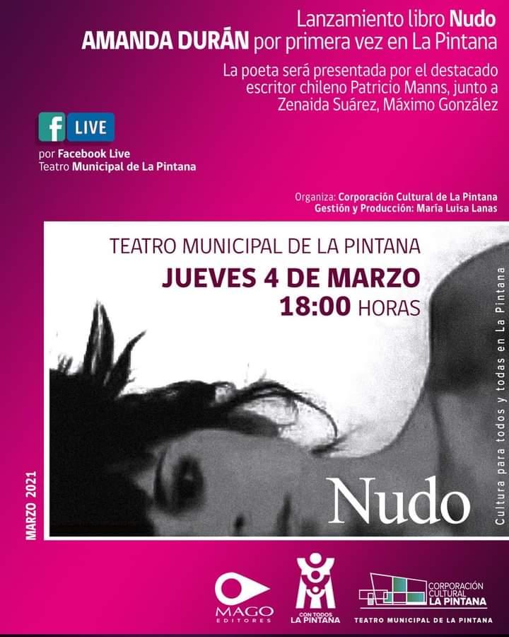 """Poeta Amanda Durán presenta """"Nudo"""", su obra reunida, en el Teatro Municipal de La Pintana"""