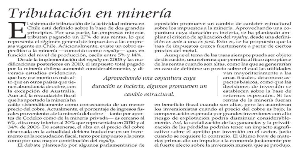 Experto en tributación minera tritura editorial de El Mercurio en que se asegura que mineras pagan altos impuestos y que no corresponde aumentarlos