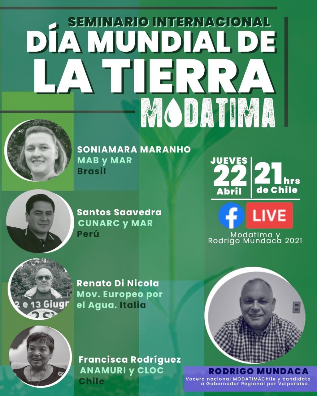 Este jueves se llevará a cabo el Seminario Internacional «Día Mundial de la Tierra Modatima»