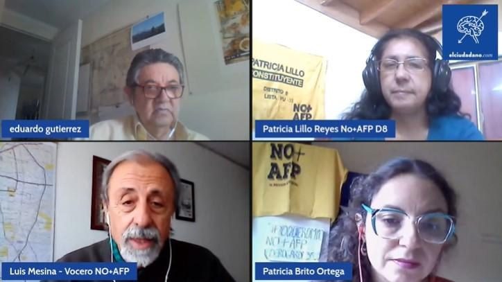 Luis Mesina, Patricia Brito, Eduardo Gutiérrez y Patricia Lillo: «constituyentes» de No + AFP que buscan acabar con actual sistema de pensiones