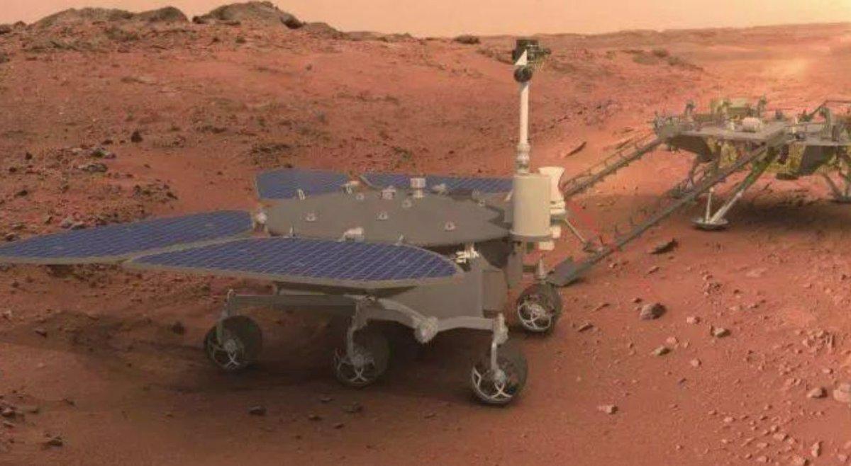 Zhurong: la Sonda exploradora China bajó de su plataforma y comenzó a recorrer Marte