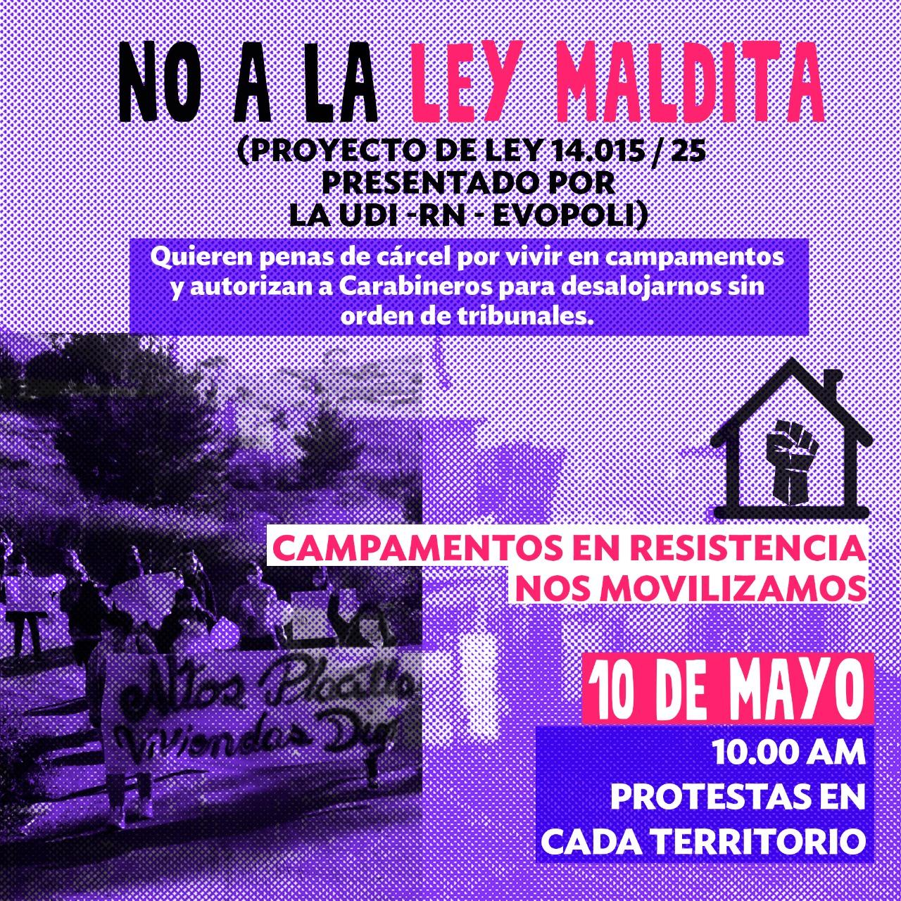 Campamentos en resistencia se movilizarán en rechazo a ley promovida por UDI, RN y Evópoli que criminaliza tomas de terreno, ocupaciones de inmuebles y recuperaciones de tierra