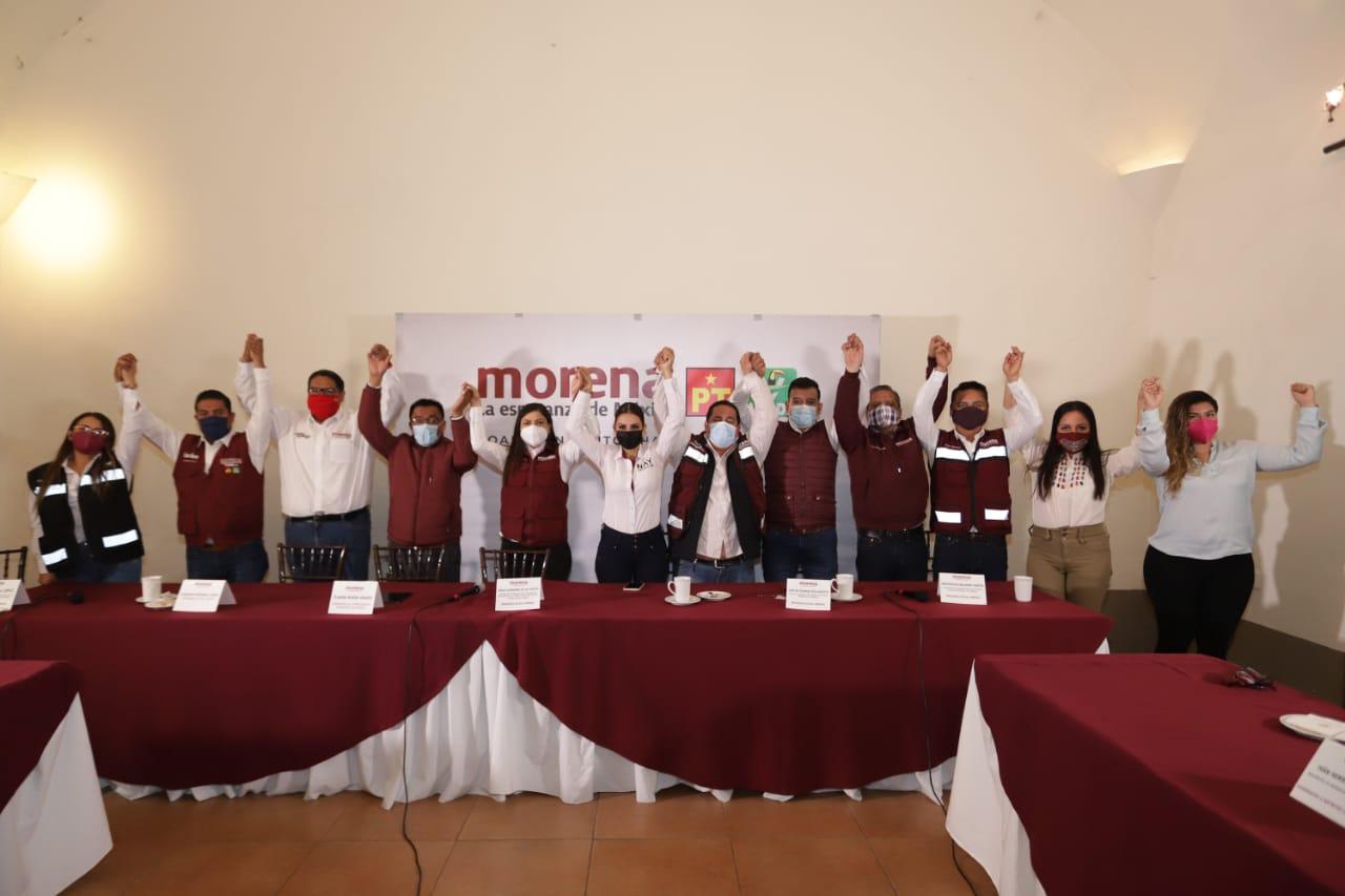 Líderes morenista en rueda de prensa