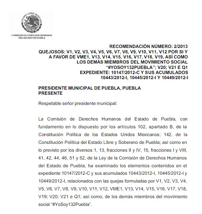 Portada de la Recomendación 02-2013 CEDH