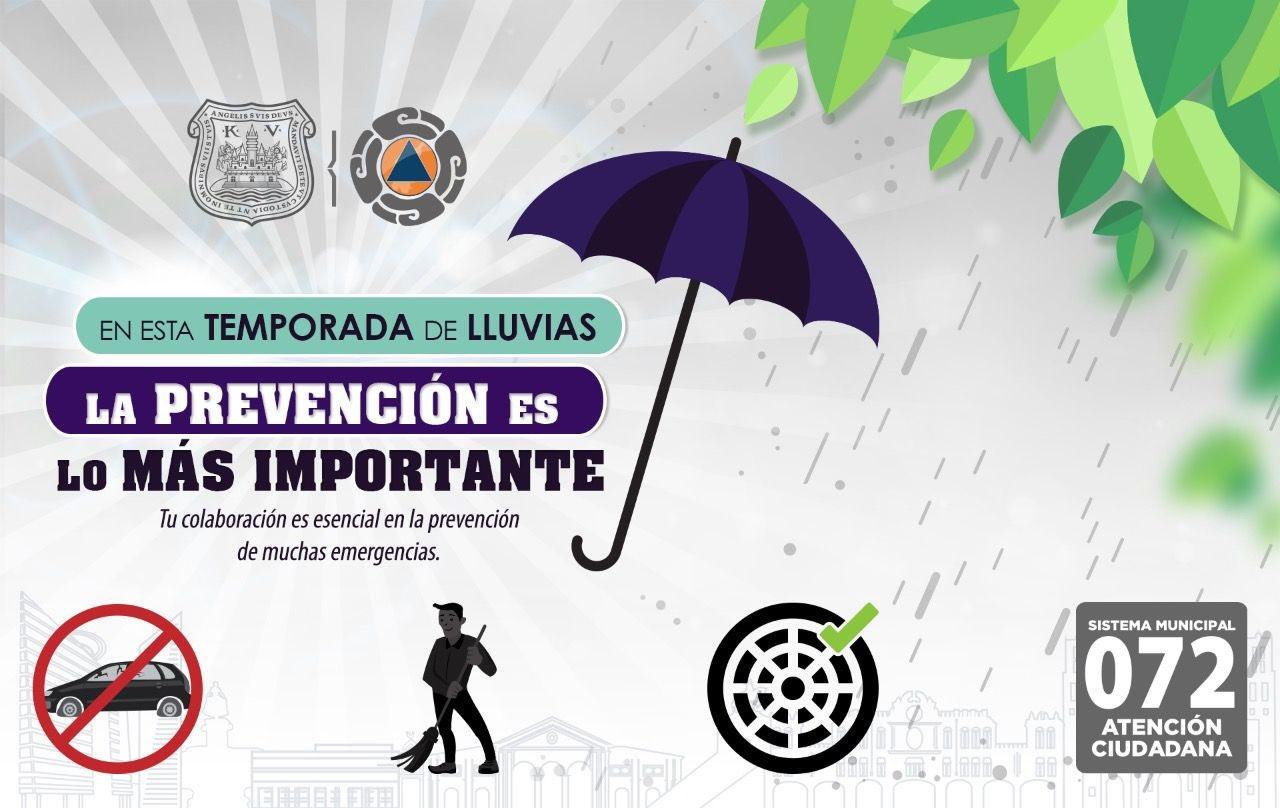 Ayuntamiento de Puebla recomienda estas medidas preventivas ante temporada de lluvias