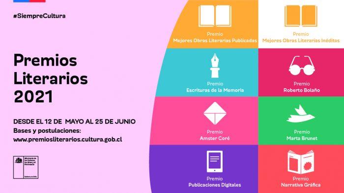 Ministerio de las Culturas abre convocatoria de los Premios Literarios 2021 con novedades en Escrituras de la Memoria y Roberto Bolaño
