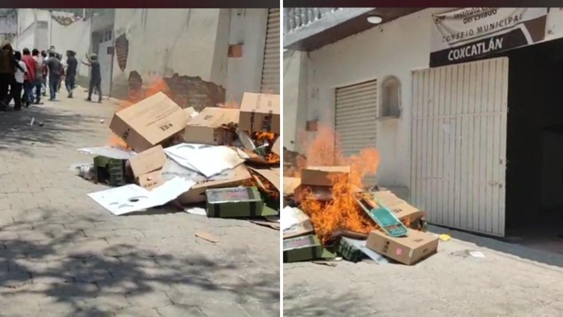 Quema de paquetería electoral en Coxcatlán