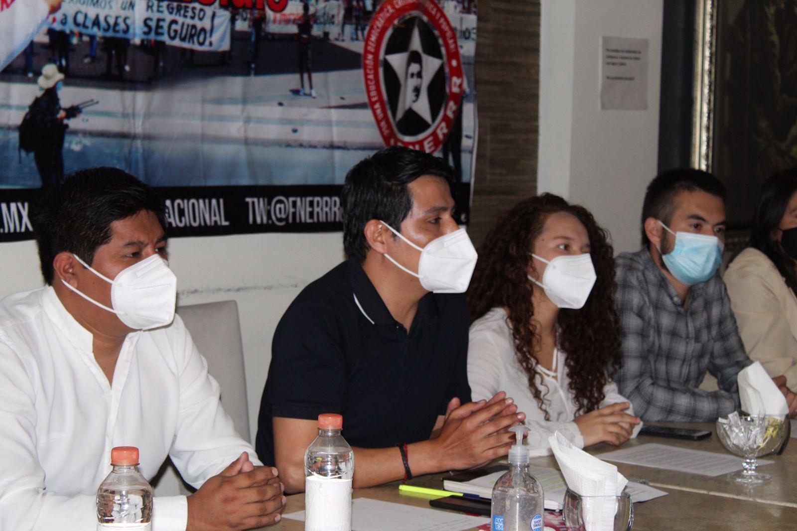 Integrantes de la Fnerrr exigiendo la vacuna contra la Covid-19