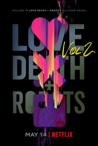 Poster de love death and robots, donde se ve un corazón, una equis y un cuadrado con ojos