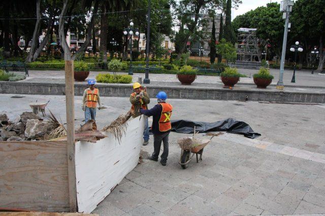 Obras en el zócalo de Puebla capital