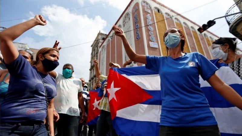 Cuba manifestación apoyo Revolución