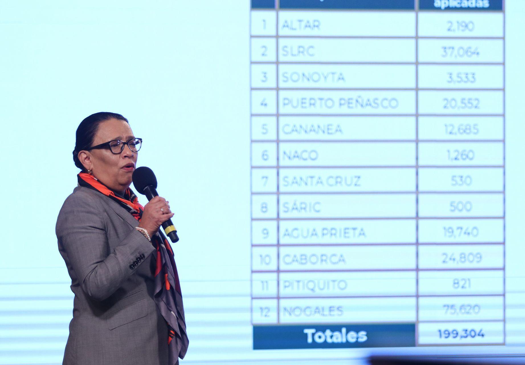 Rosa Icela Rodríguez Velázquez, secretaria de Seguridad y Protección Ciudadana, durante conferencia matutina. FOTO:ANDREA MURCIA /CUARTOSCURO.COM