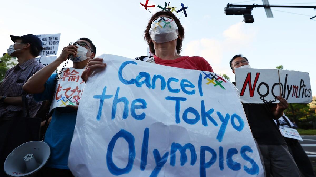 (Video) Manifestantes protestan contra apertura de los JJ.OO. Tokio 2020