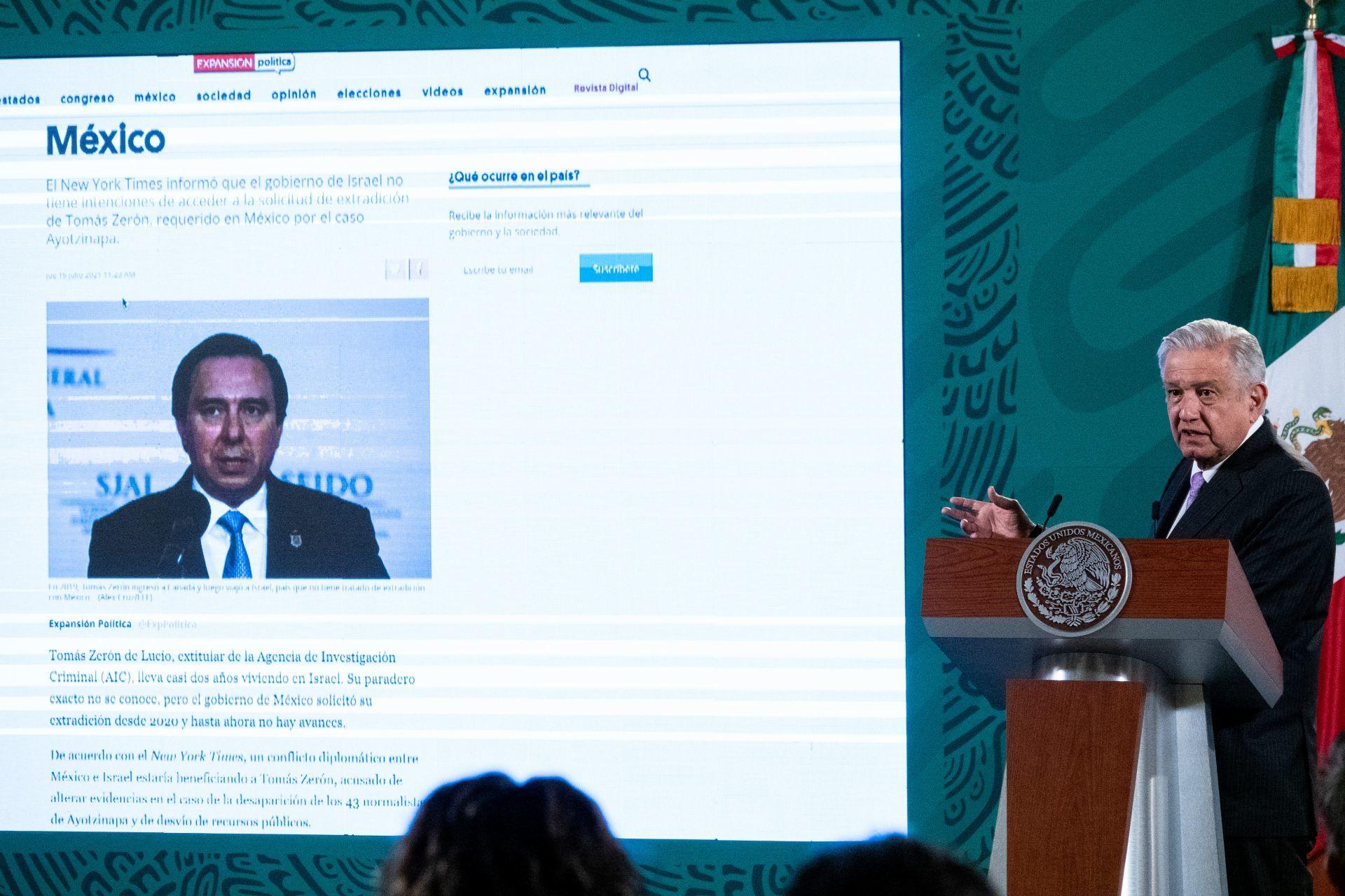 López Obrador espera que Israel autorice extradición de Tomás Zerón