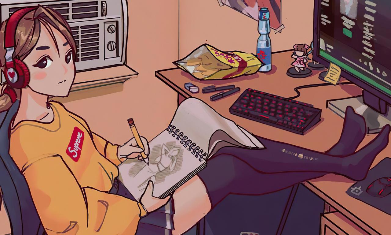 Se ve a una chica con una sudadera amarilla dibujando en una libreta a un personaje femenino