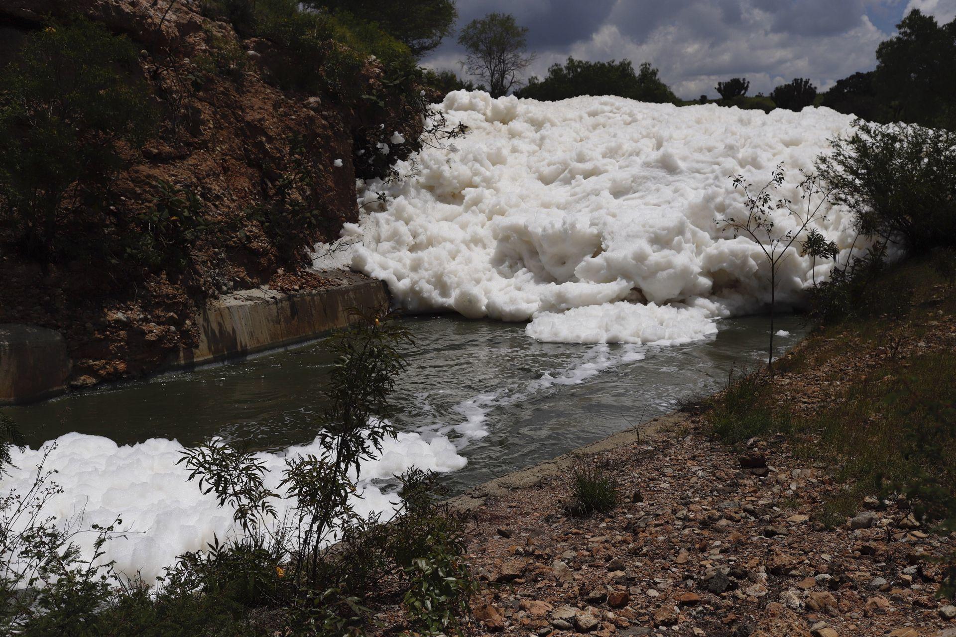Descargas jabonosas y fertilizantes provocan la espuma en Valsequillo