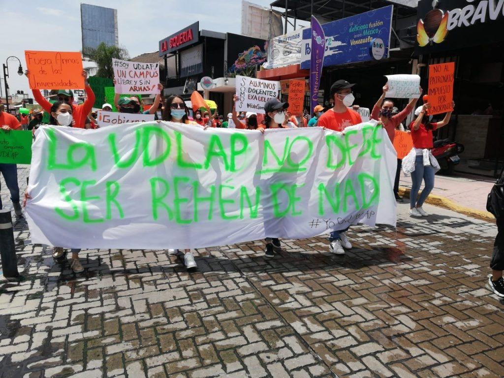 Manifestación de estudiantes de la Udlap