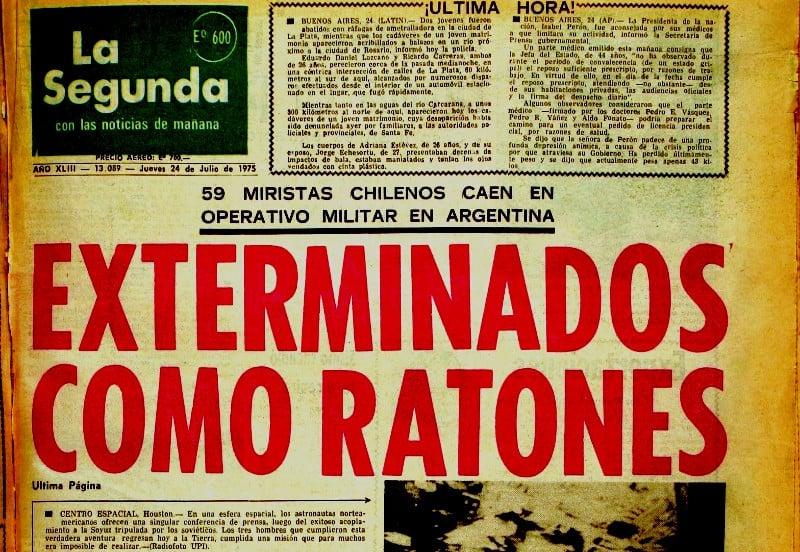 Operación Colombo: Familiares recurren a Comisión Interamericana para que se rectifique titular de diario La Segunda