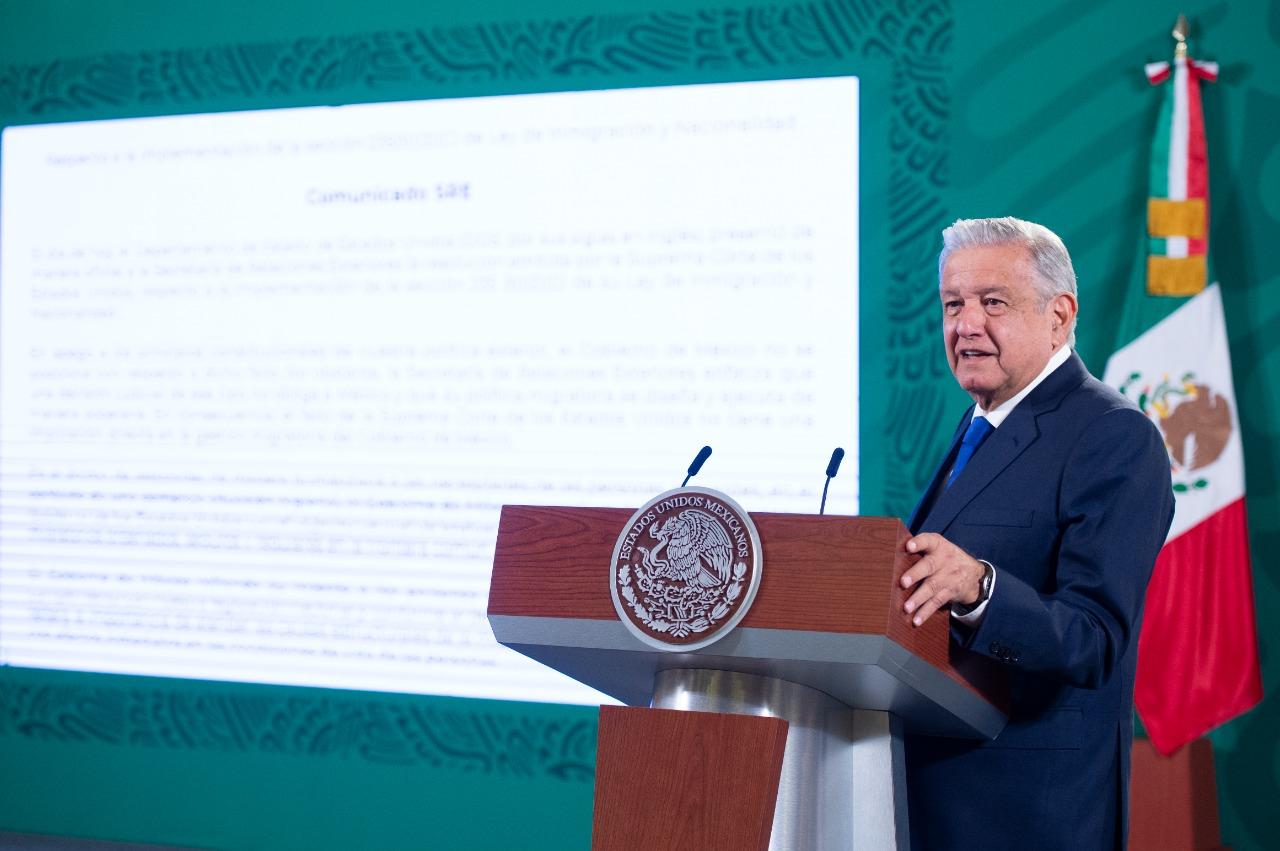 Política migratoria de Estados Unidos no tiene implicación con la gestión mexicana: AMLO
