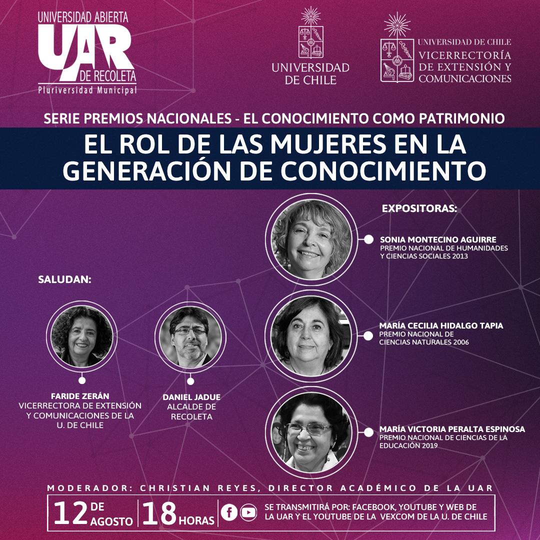 """Vexcom de la U. de Chile y U. Abierta de Recoleta organizan foro """"El rol de las mujeres en la generación de conocimiento"""""""