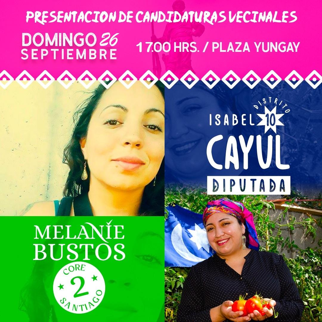 Isabel Cayul y Melanie Bustos lanzarán sus candidaturas con actividad vecinal en Barrio Yungay