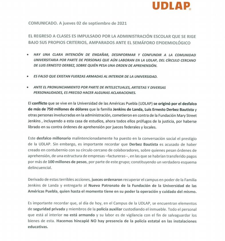 Comunicado UDLAP 020921