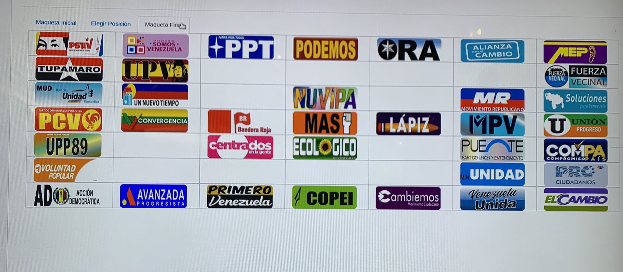 CNE reveló posición de los partidos políticos en la boleta electoral para los comicios regionales del 21-N