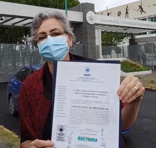 Recibe Guadalupe Grajales carta de idoneidad para ser candidata a la rectoría de la BUAP