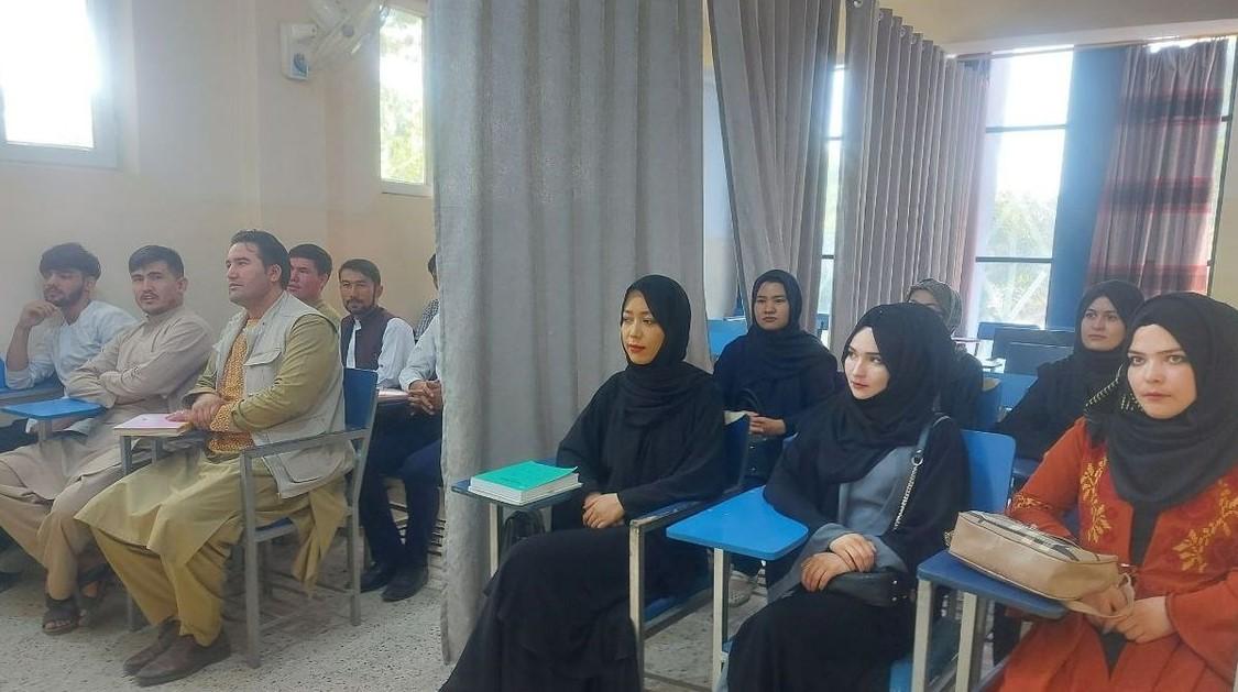 Mujeres y hombres de Afganistán toman clases separados por cortinas