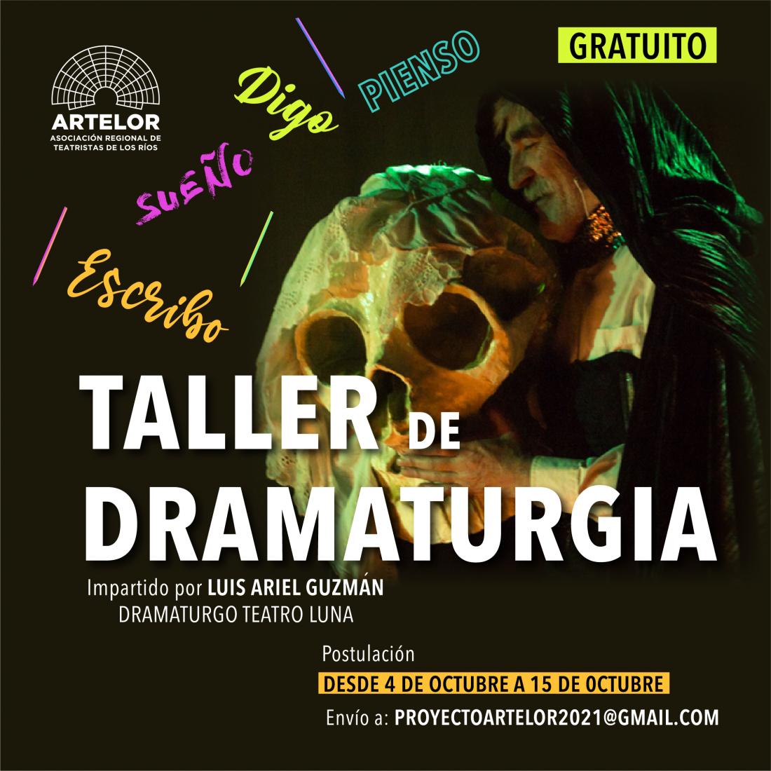 Asociación de Teatristas de Los Ríos invita a Taller de Dramaturgia